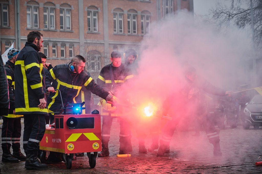 Manifestation des pompiers à Lille le 05 décembre dernier. Crédit photo : Quentin Saison
