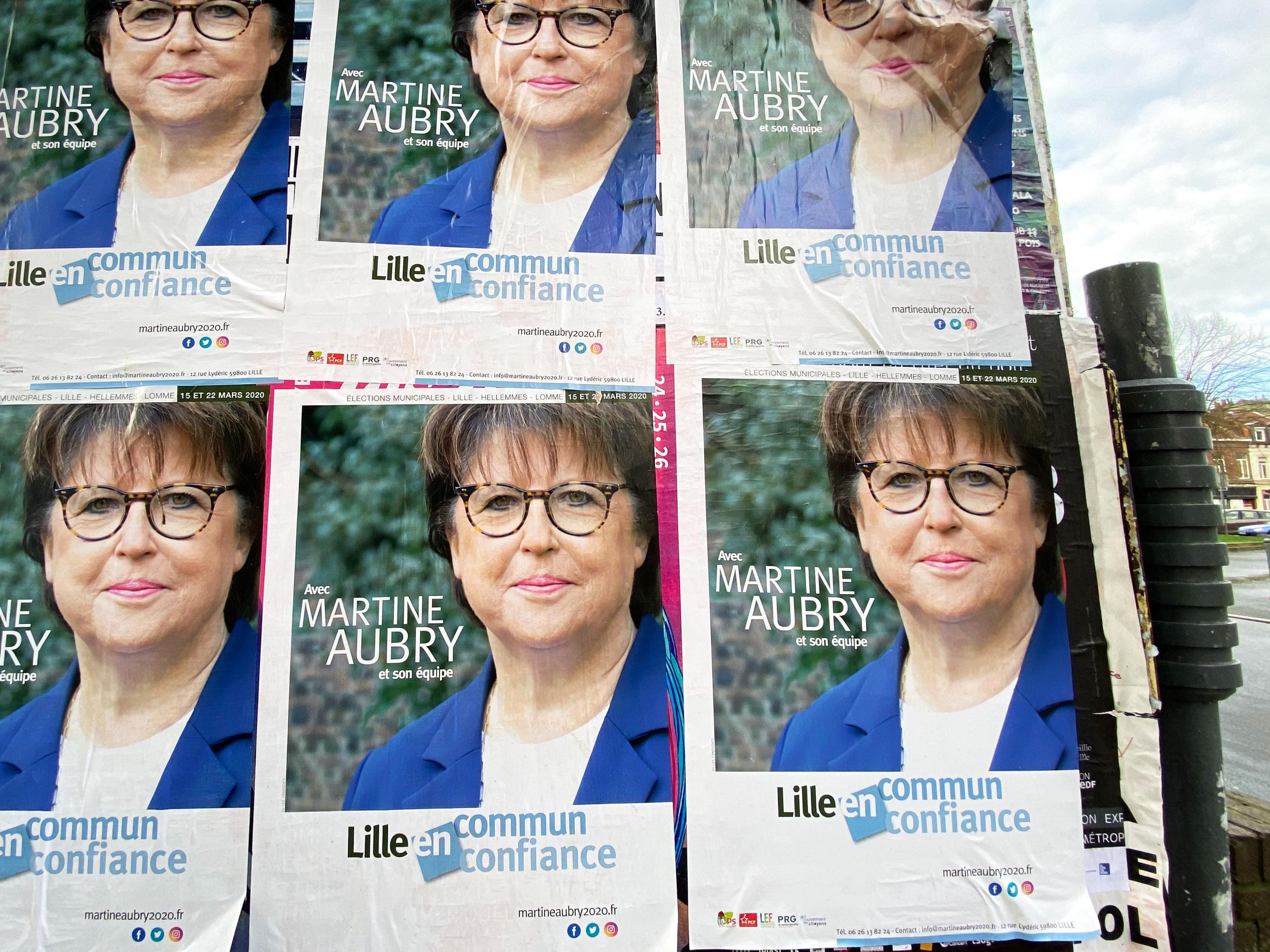 La maire sortante, Martine Aubry, en campagne à Lille