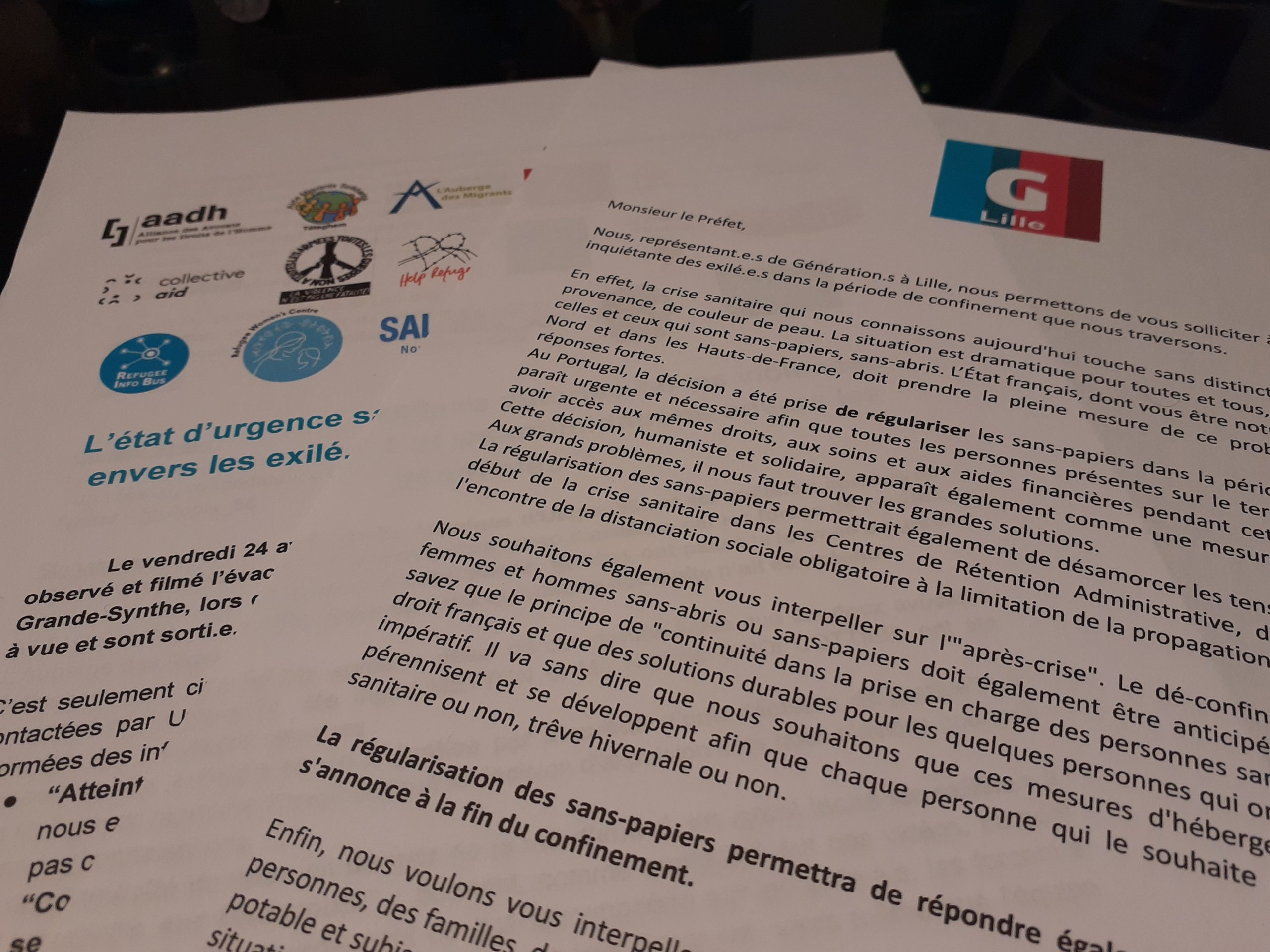 Communiqués de presse de Génération.s Lille et des associations sur la situation d'urgence sanitaire des sans-papiers