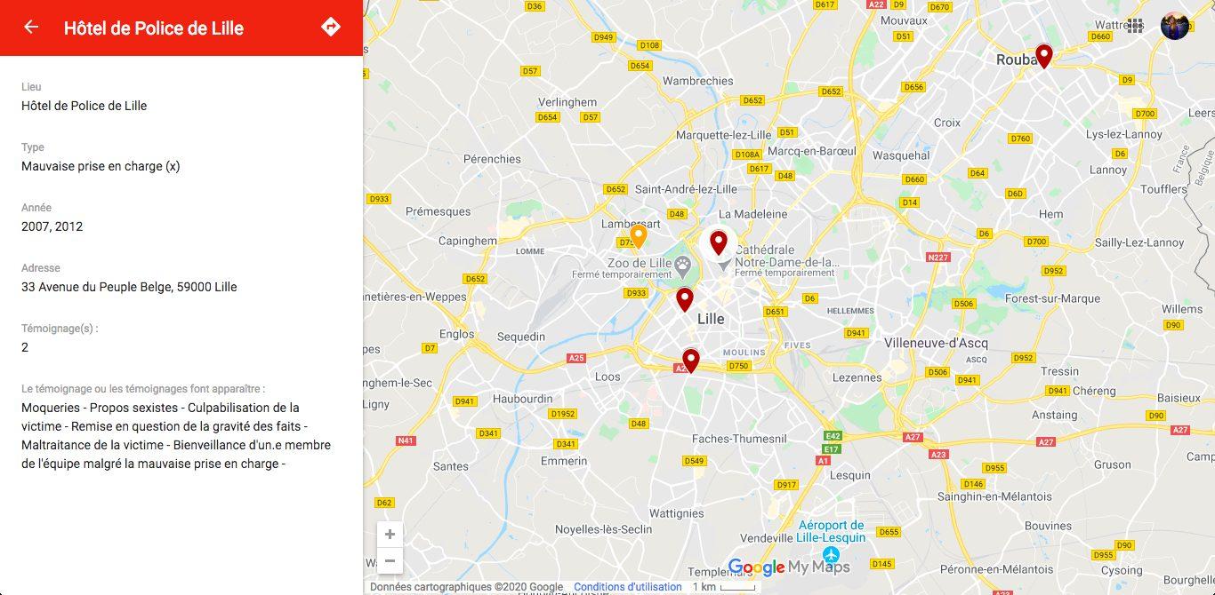 Zoom fait sur Lille dans la carte #PayeTaPlainte.