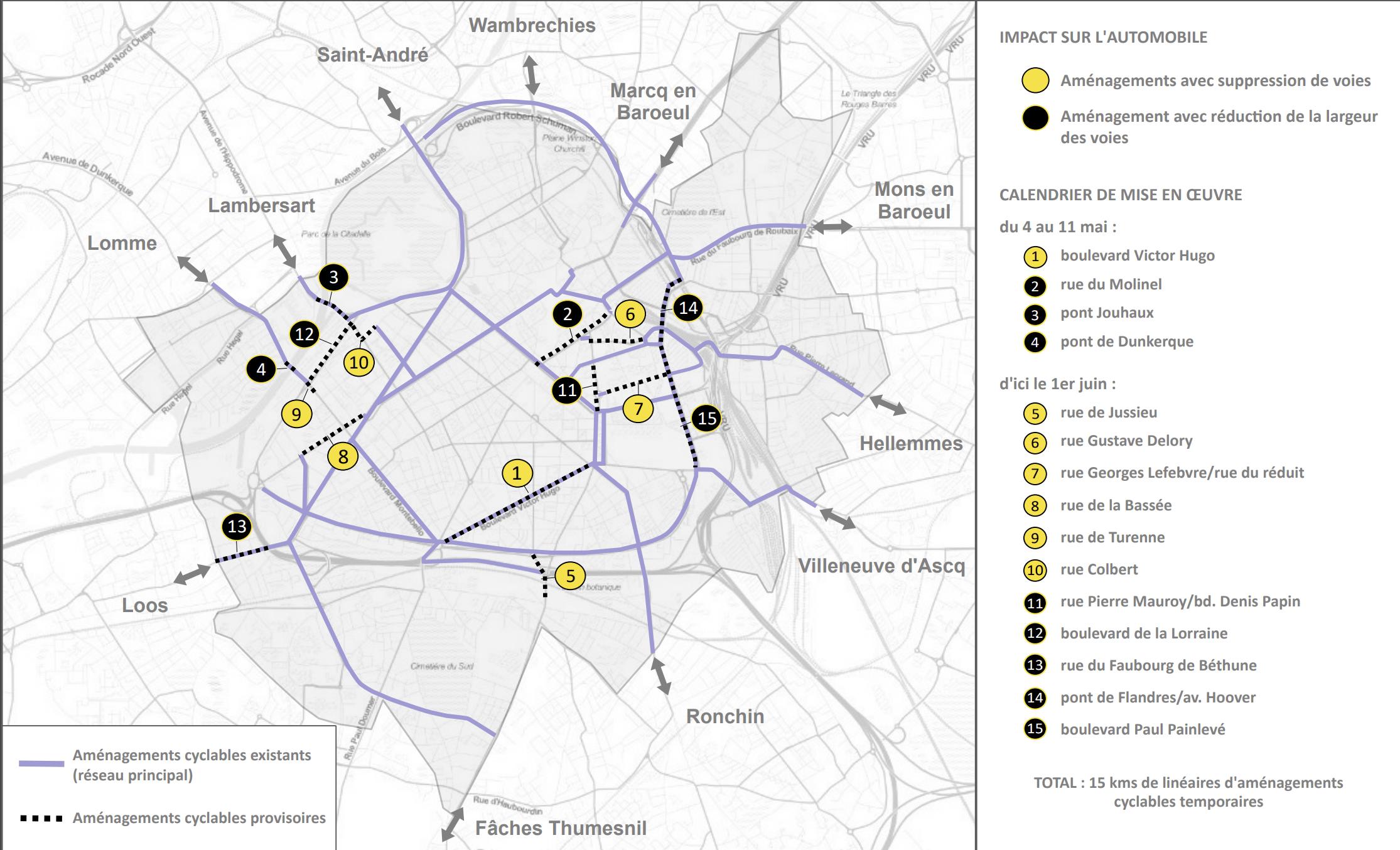 Carte aménagement vélo Lille