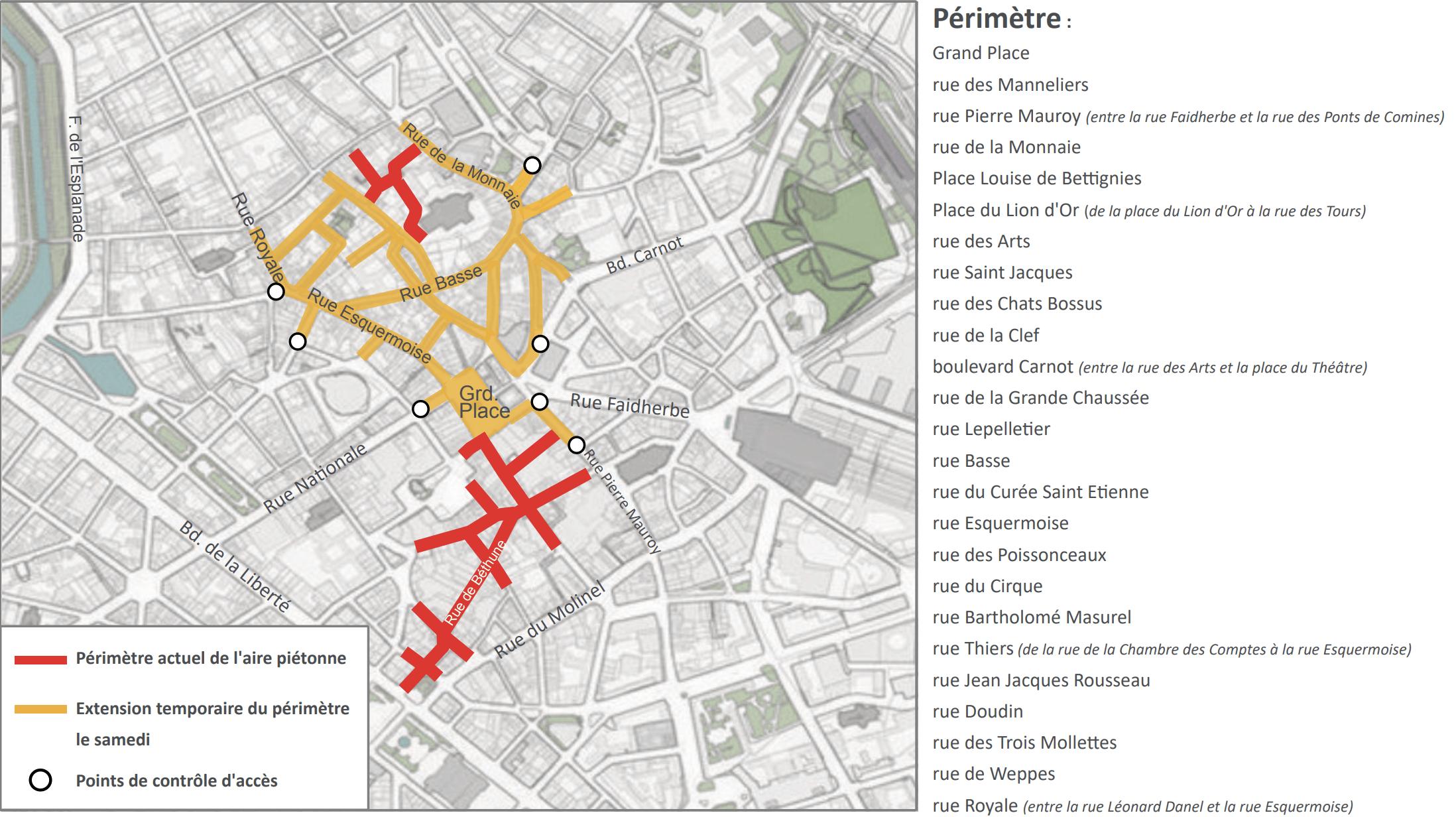 Plan aménagements potentiels piétons Lille