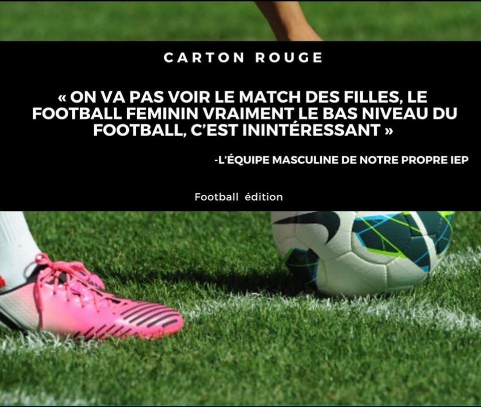 Témoignage Sexisme Football IEP Carton Rouge