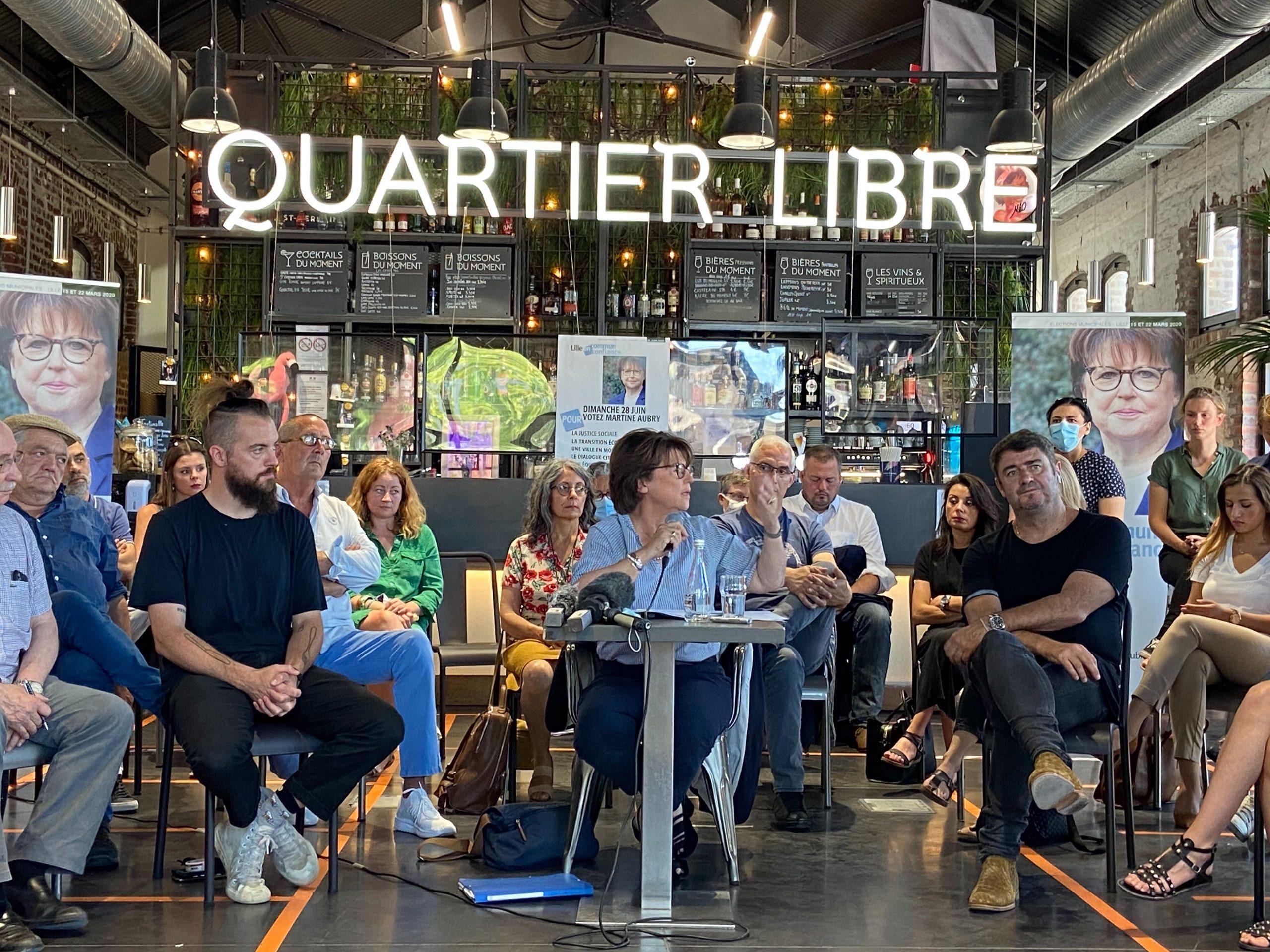 Au Quartier Libre, Martine AUbry et son équipe sont revenus une ultime fois sur le programme de la candidate socialiste © Hugo Palacin