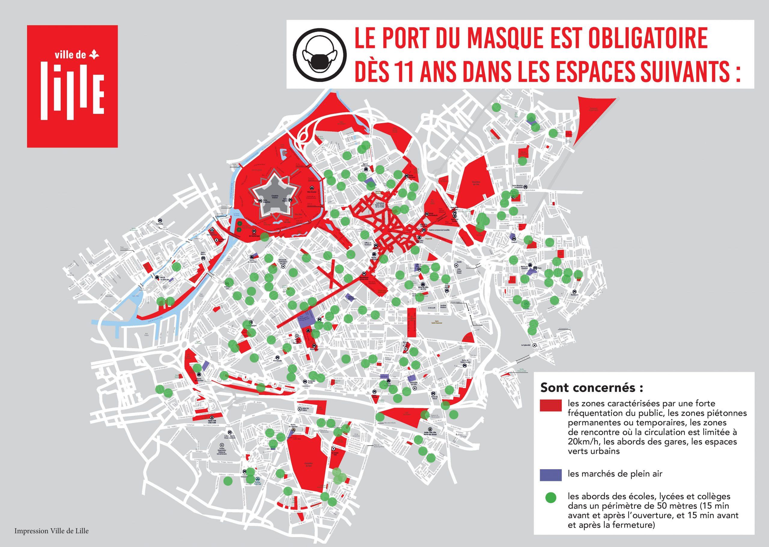 Cartographie port du masque obligatoire Lille